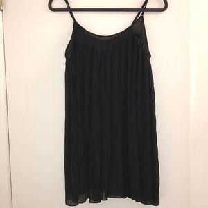 UO: Black Pleated Mini Shift Dress